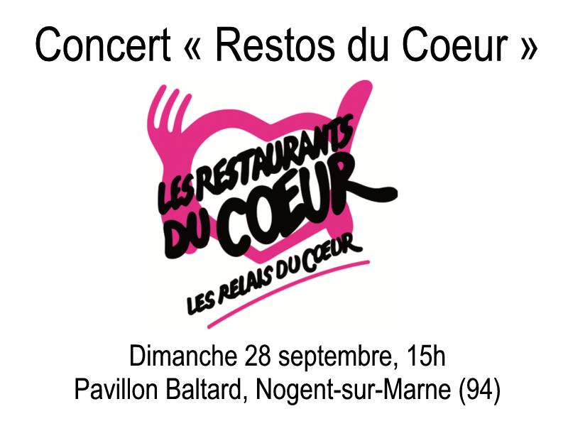 CONCERT « RESTOS du COEUR » – Pavillon Baltard